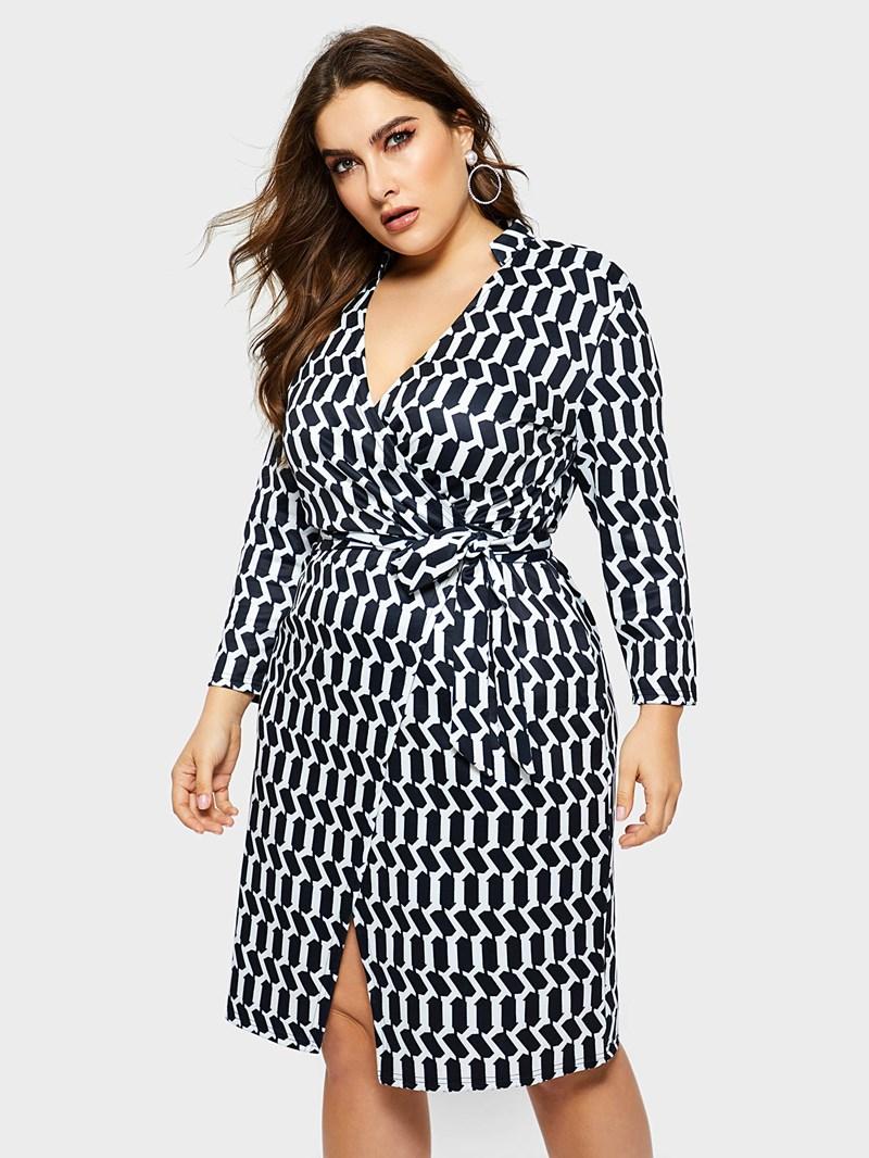Ericdress Plus Size Knee-Length Print Three-Quarter Sleeve Pullover Plaid Dress