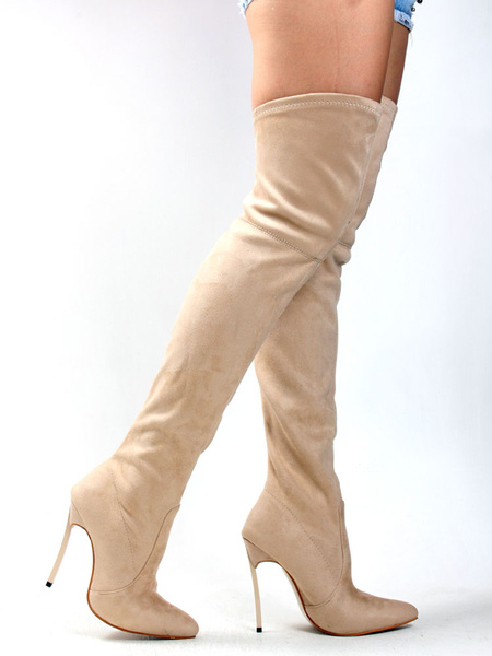 Milanoo Thigh High Boots Womens Nubuck Solid Color Stretchy Pointed Toe Stiletto Heel Over The Knee Boots