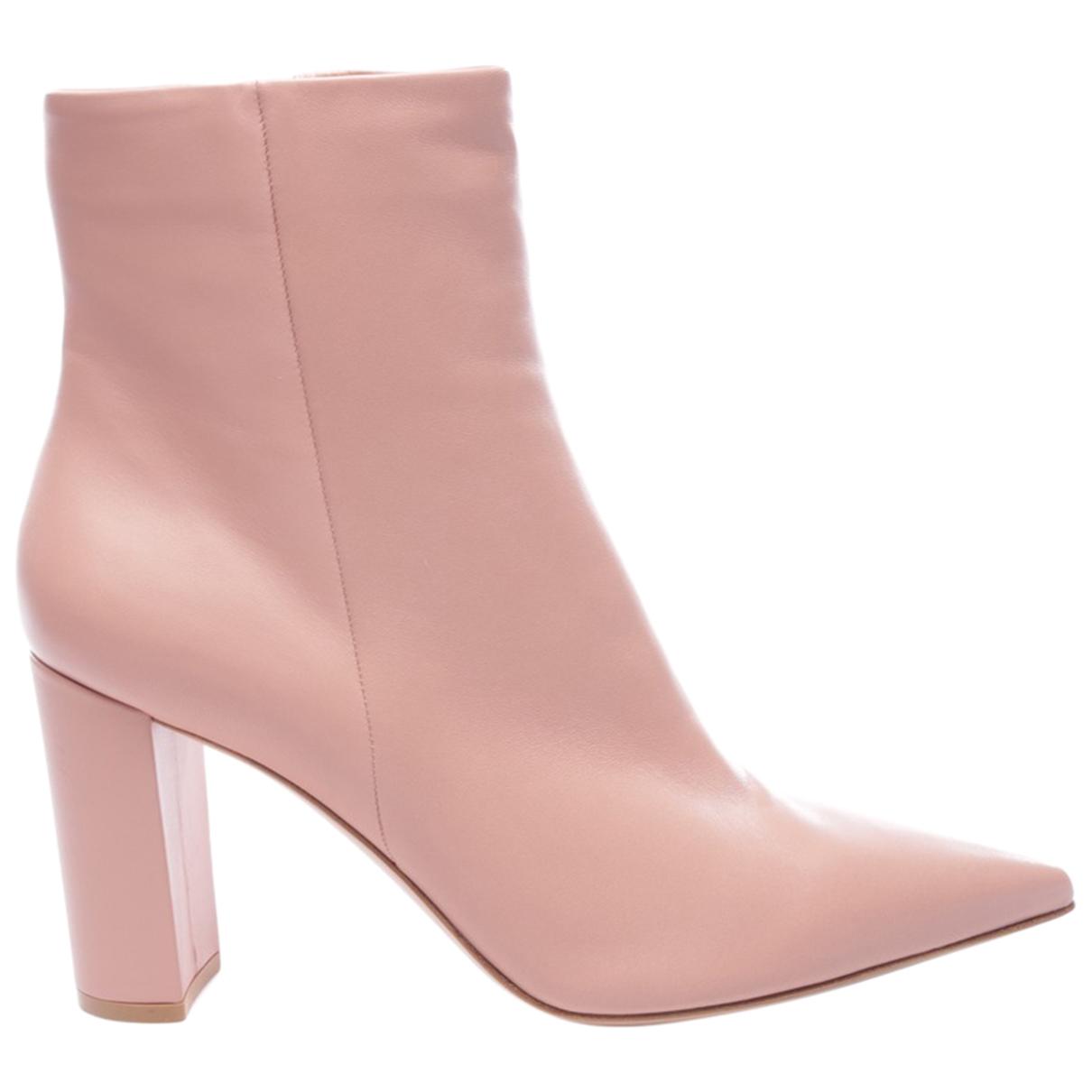 Gianvito Rossi - Boots   pour femme en cuir - rose