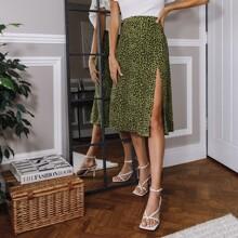 Allover Print Split Thigh Skirt