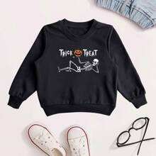 Sweatshirt mit Halloween & Buchstaben Muster