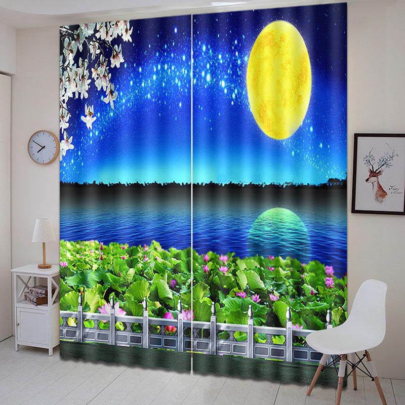 Beddinginn Curtain Decoration Beautiful Moon Modern Curtains/Window Screens