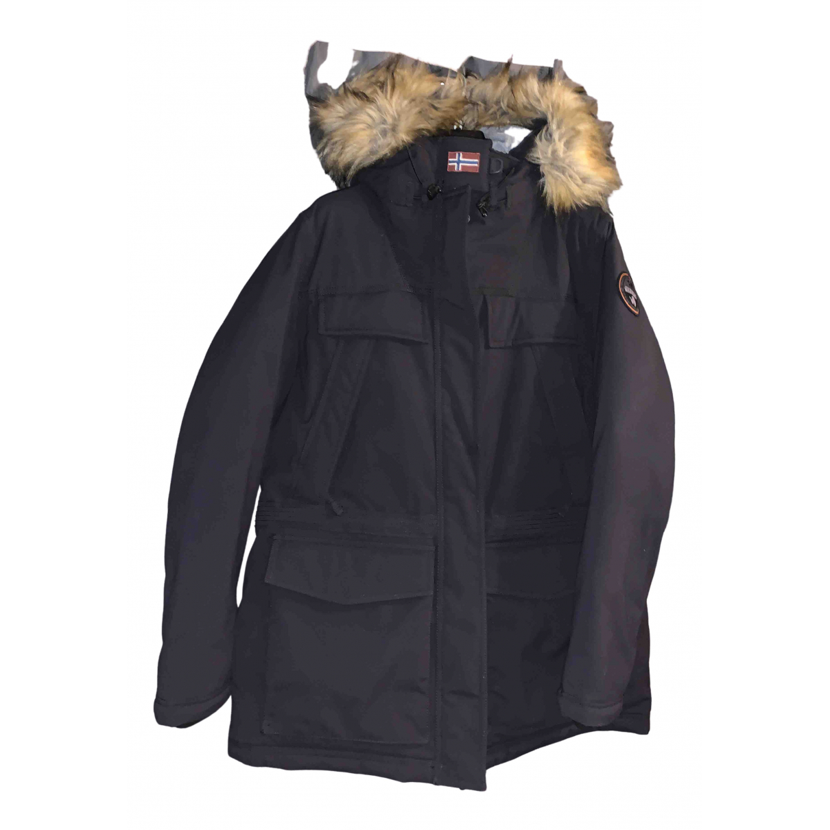 Napapijri - Manteau   pour femme en fourrure synthetique - noir