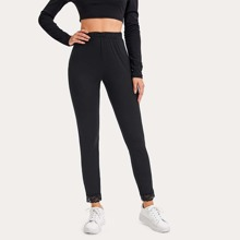 Contrast Lace Solid Leggings