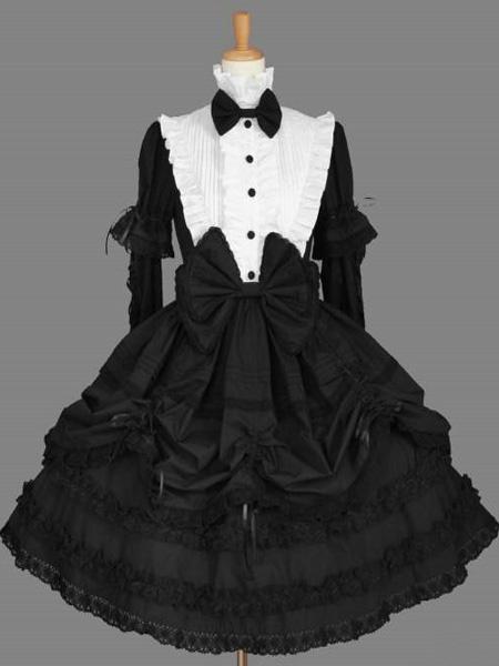 Milanoo Estilo occidental puro algodon de manga larga Lolita una pieza