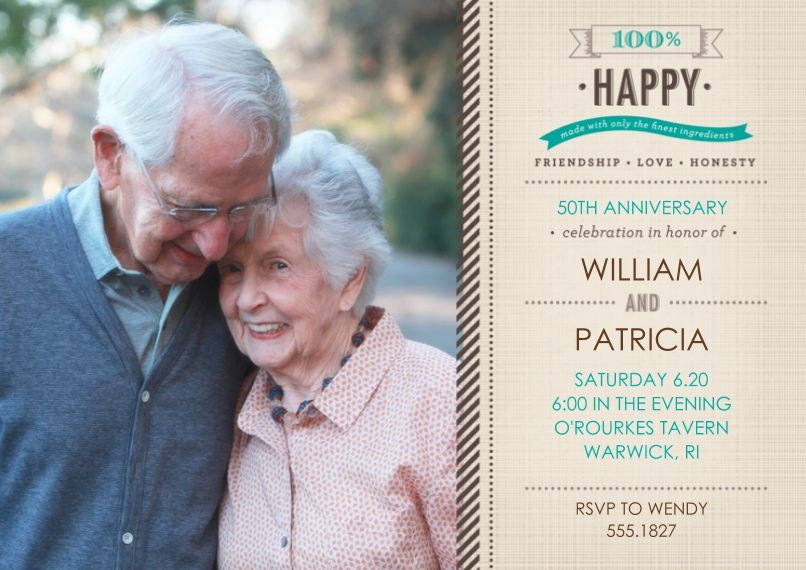 Anniversary 5x7 Cards, Premium Cardstock 120lb with Scalloped Corners, Card & Stationery -100 Percent Happy