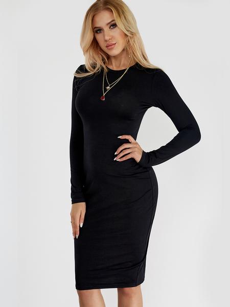 Yoins Black Round Neck Long Sleeve Midi Dress