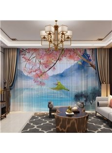 3D Birds and Flowers in the Mountains Printed 2 Panels Custom Sheer