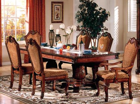 Chateau De Ville Collection 04075CH 7 PC Dining Room Set with Dining Table + 4 Side Chairs + 2 Arm Chairs in Cherry