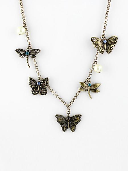 Milanoo Necklaces Khaki Geometric Metal Women Jewelry