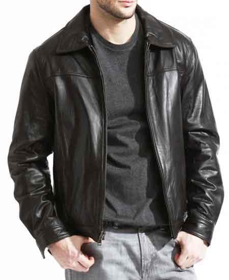 Mens Pebble Grain Lambskin Leather Brown Front Zipper Closure Jacket