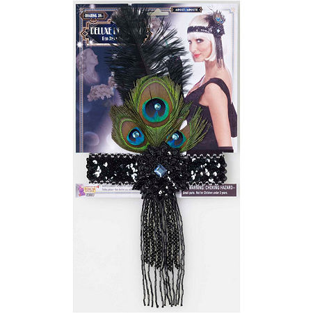 Black Flapper Headband With Peacock Feathers Costume, One Size , Black