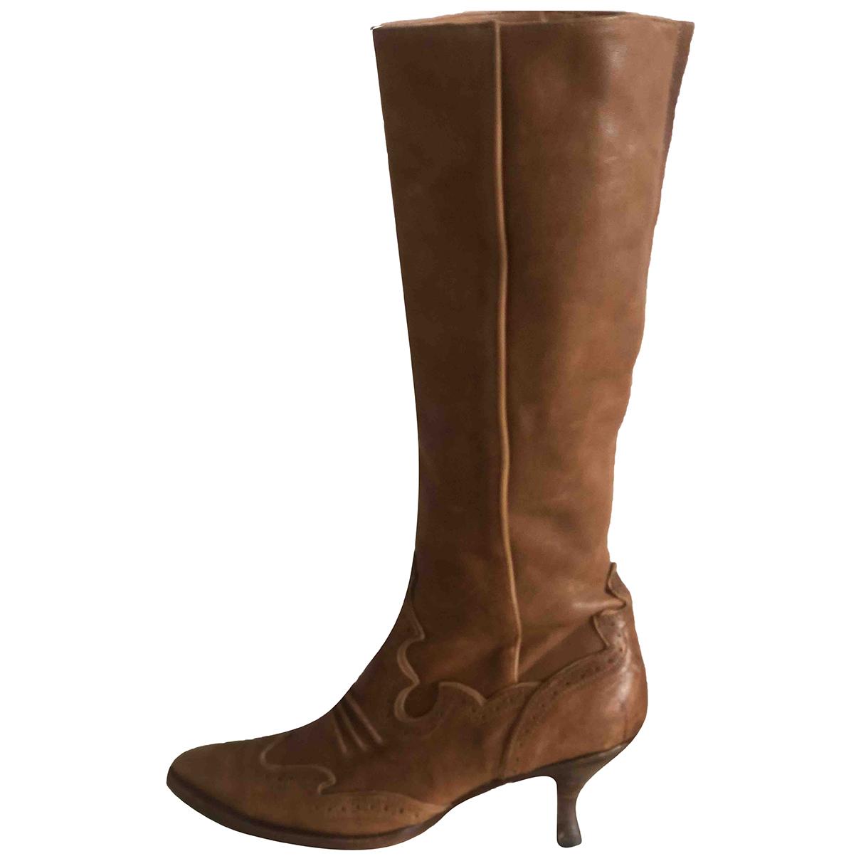 Ermanno Scervino N Camel Leather Heels for Women 36 IT