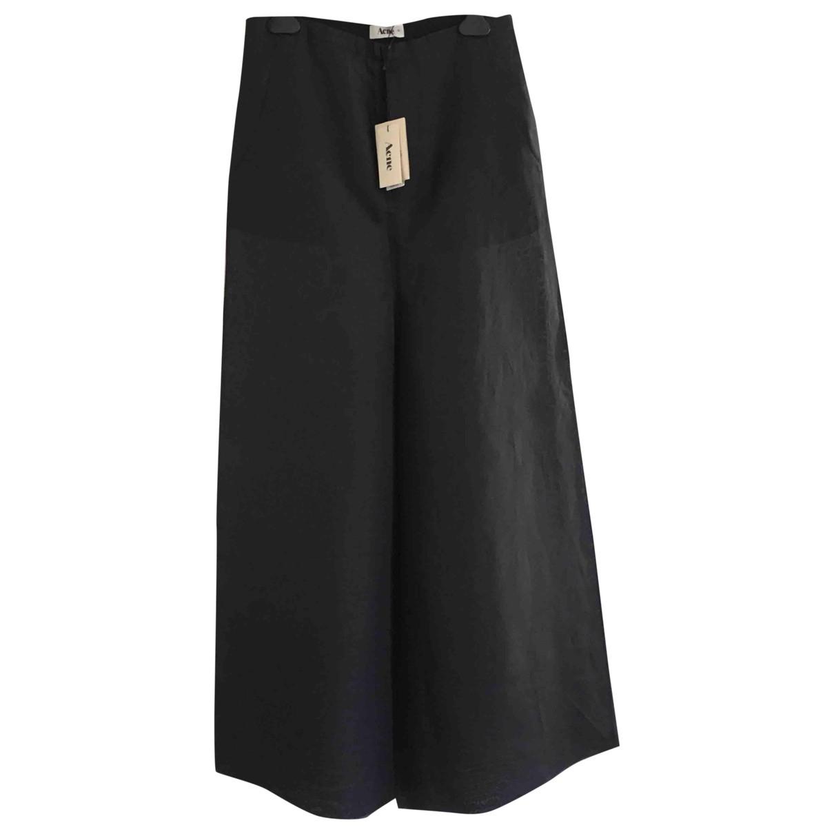 Acne Studios \N Black Silk Trousers for Women 34 FR