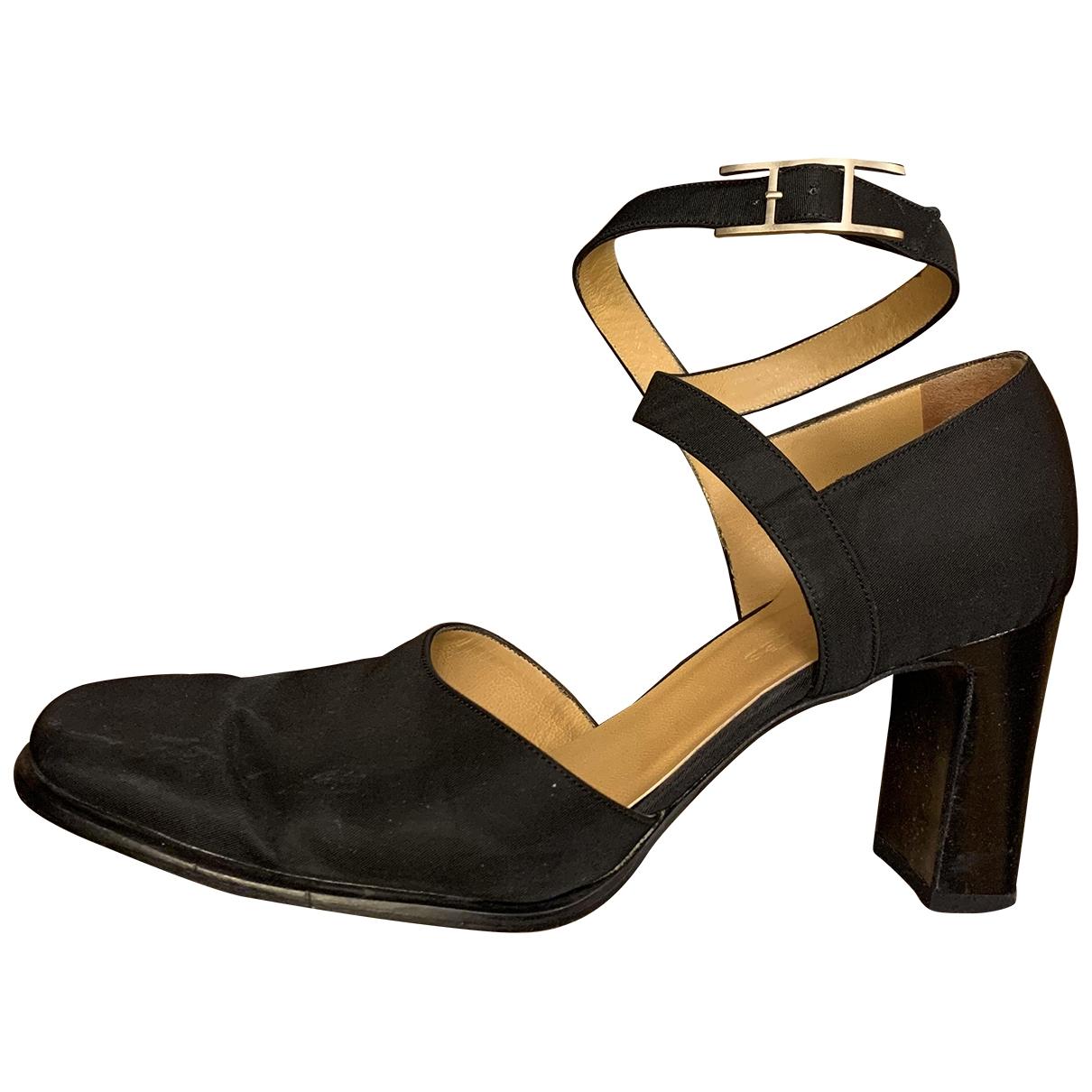 Hermes - Escarpins   pour femme en toile - noir