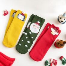 3 Paare Kleinkind Kinder Socken mit Weihnachtsmann Muster