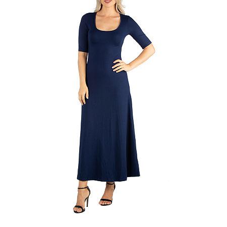 24/7 Comfort Apparel Casual Maxi Dress With Short Sleeves, Medium , Blue