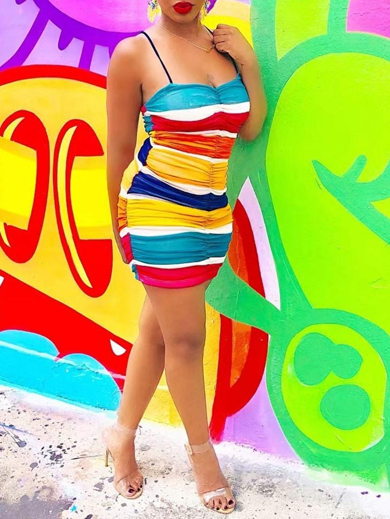 Ericdress Above Knee Sleeveless Patchwork Color Block Bodycon Dress