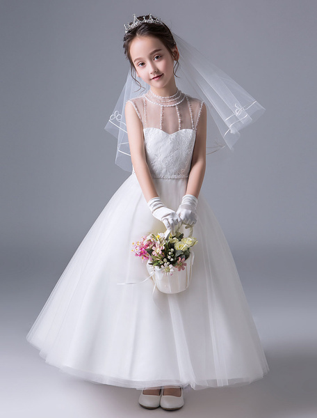 Milanoo Flower Girl Dresses Ivory Kids Princess Dress Lace Open Back Illusion Sleeveless Ankle Length Party Dress