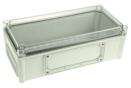 Fibox EK, Grey, Transparent Polycarbonate Enclosure, IP66, IP67, Flanged, 380 x 190 x 130mm