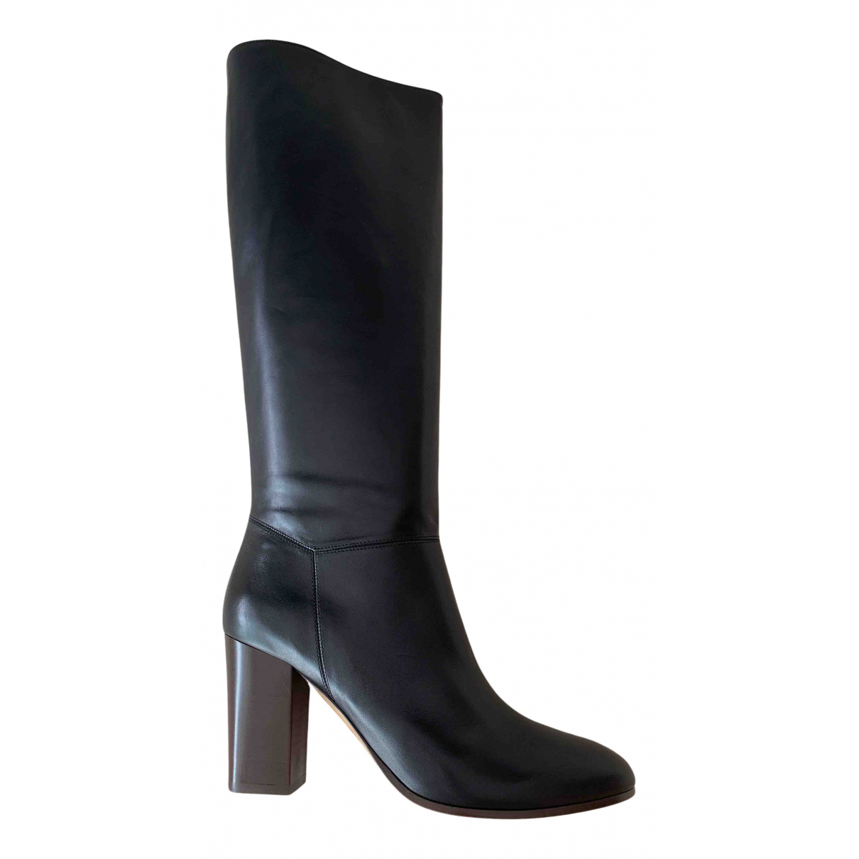 Maje N Black Leather Boots for Women 41 EU
