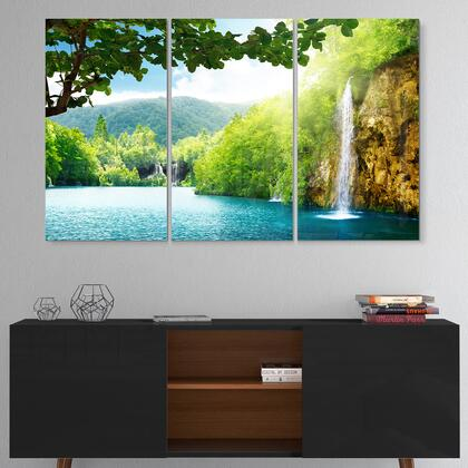 MT6940-3P Waterfall In Deep Forest - Multipanel Landscape Photography Metal Wall Art - 36X28 - 3