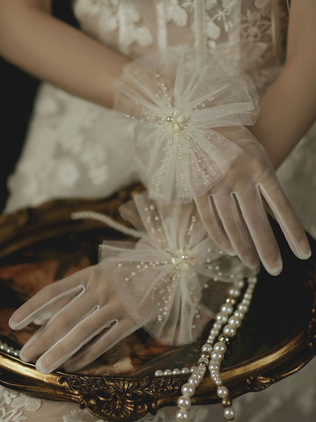 Milanoo Wedding Gloves Short Accessory Tulle Lace Pearl Beaded Bridal Gloves