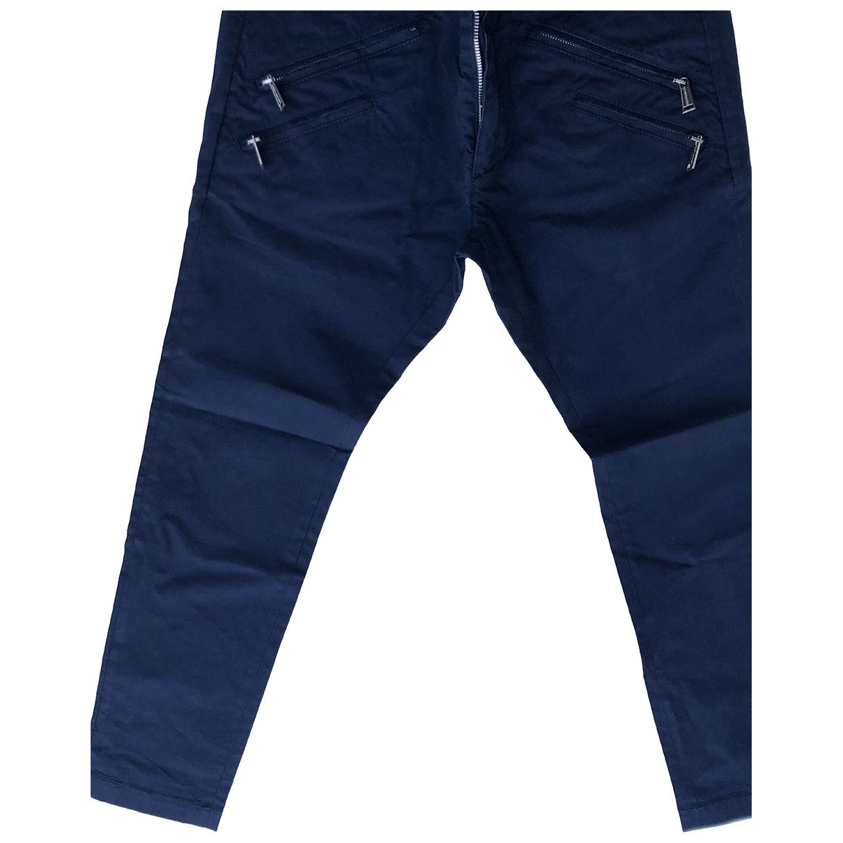Dsquared2 \N Blue Cotton Trousers for Men 48 IT