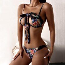 Bikini Badeanzug mit chinesischem Drache Muster, Buegel und Neckholder