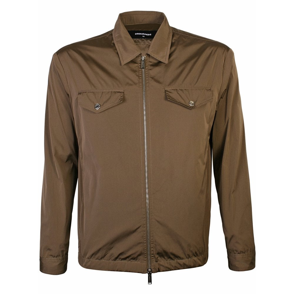 Dsquared2 Zip Up Shell Jacket Colour: BROWN, Size: MEDIUM