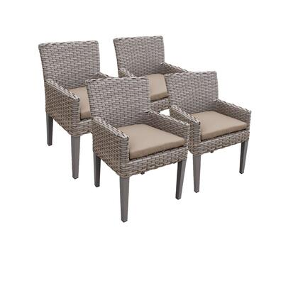 TKC297b-DC-2x-C-WHEAT 4 Oasis Dining Chairs With Arms with 2 Covers: Grey and