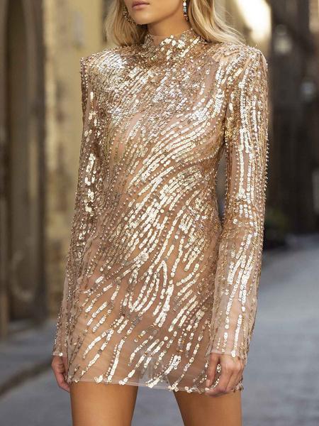 Milanoo Vestido atractivo del vestido del club de lentejuelas sin respaldo de manga larga