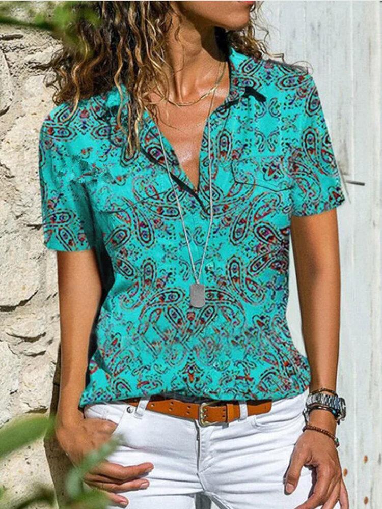 Ethnic Print Short Sleeve Lapel Plus Size Shirt