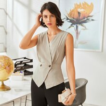 Double Button V-neck Solid Blouse