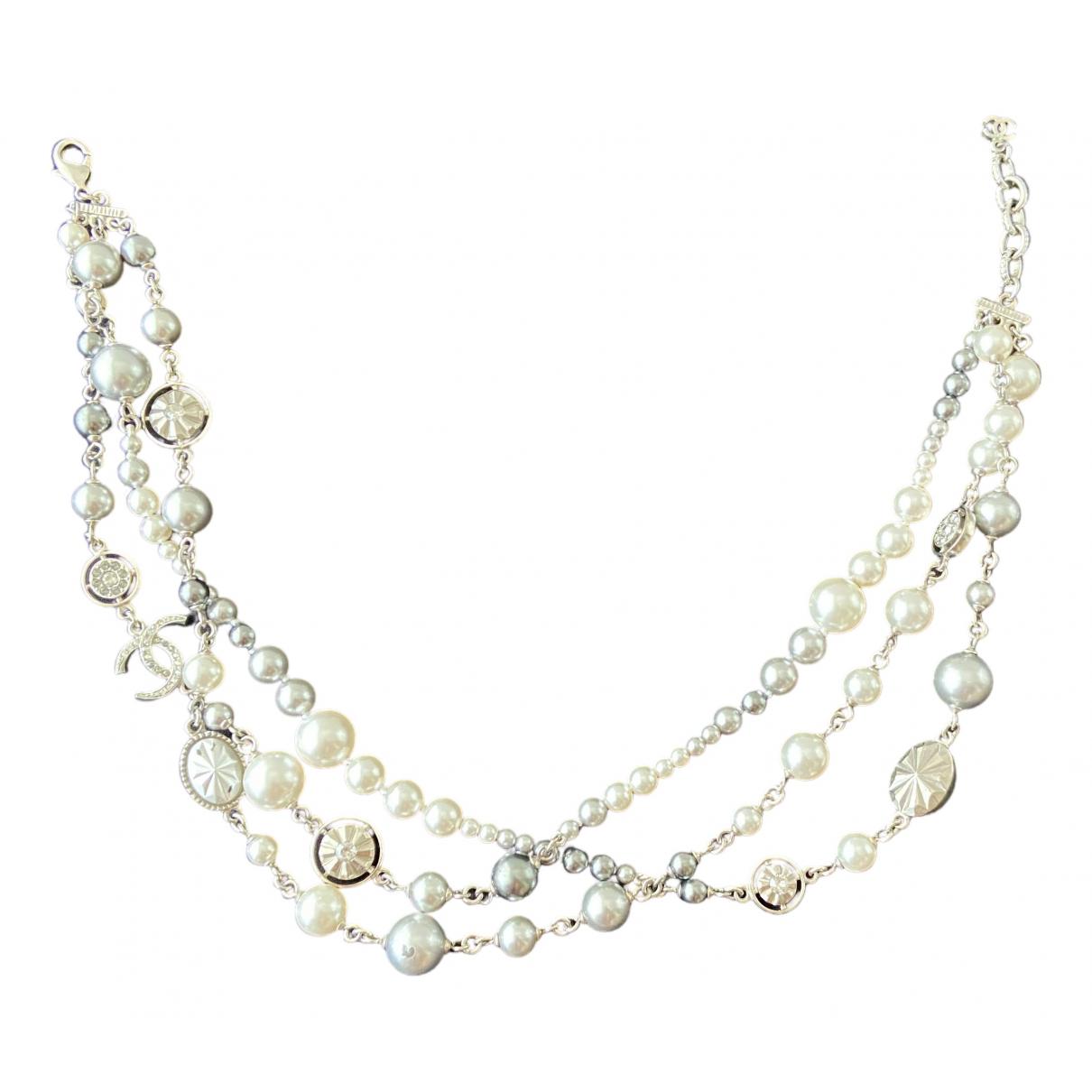 Chanel CC Kette in  Silber Perlen