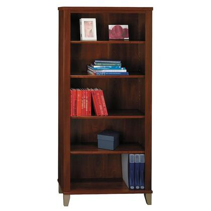 Somerset WC81765 Bookcase with Tapered Legs  3 Adjustable Shelves and 2 Fixed Shelves in Hansen Cherry