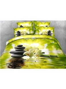 Bamboo and White Phalaenopsis Printed 4-Piece 3D Green Bedding Sets/Duvet Covers