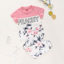 Toddler Girls Letter Graphic Tee & Floral Print Pants