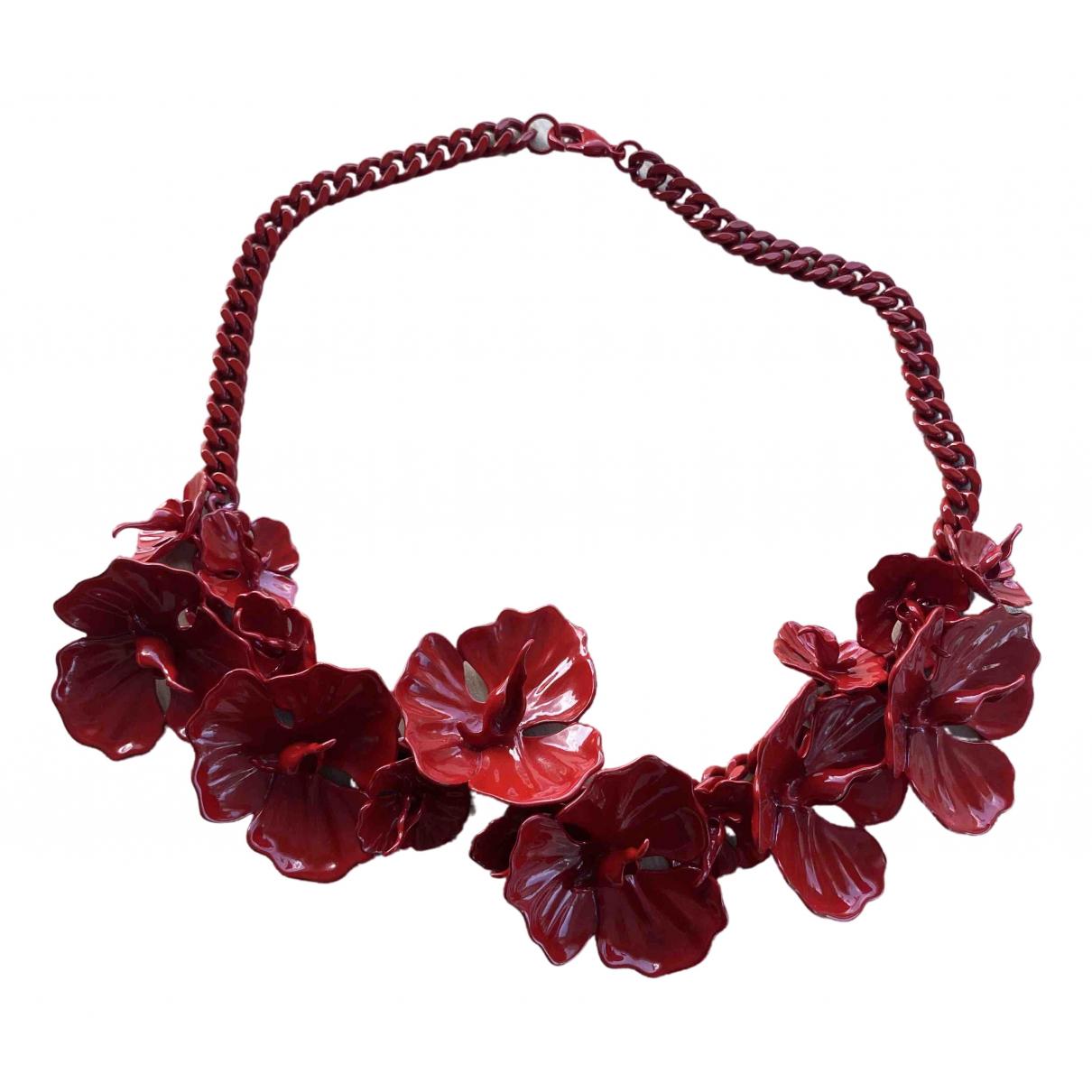 - Collier Motifs Floraux pour femme en metal - rouge