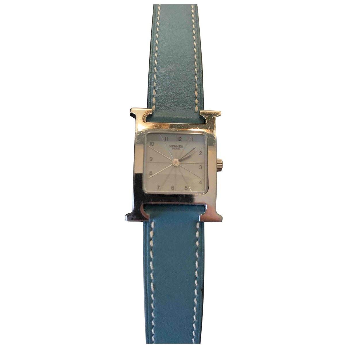 Hermes Heure H Uhr in  Tuerkis Stahl