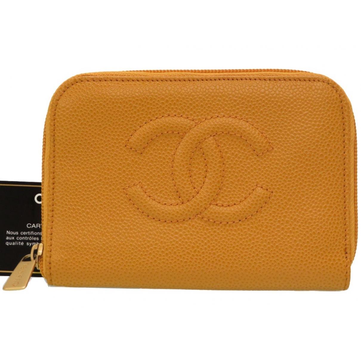 Chanel - Portefeuille   pour femme en cuir - jaune