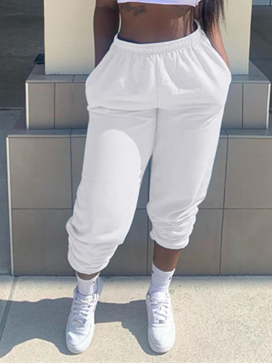 LW Lovely Casual Basic White Pants