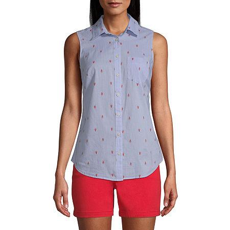 St. John's Bay Womens Sleeveless Regular Fit Button-Down Shirt, X-large , Blue