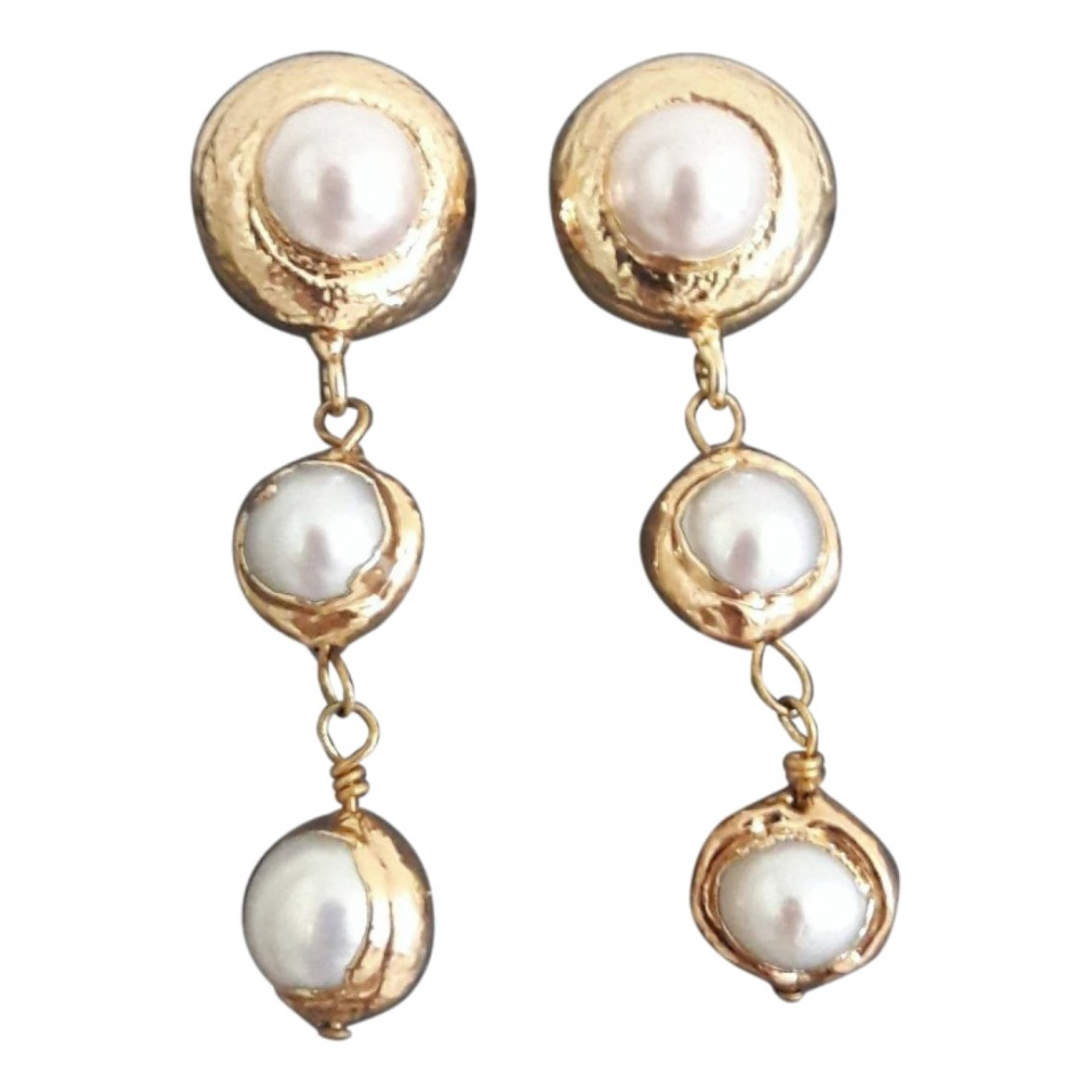 Non Signé / Unsigned Art Déco White Pearl Earrings for Women \N