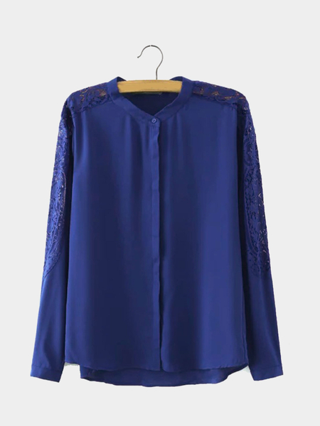 Yoins Deep Blue Sheer Long Sleeve Shirt with Lace Insert