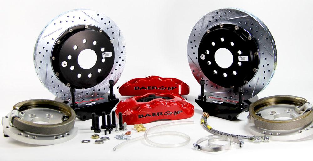 Baer Brakes Brake System 13 Inch Rear Pro+ w/Park Brake Red 58-64 Chevy Full Size Car
