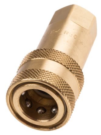 RS PRO Brass Female Hydraulic Quick Connect Coupling 1/4 in