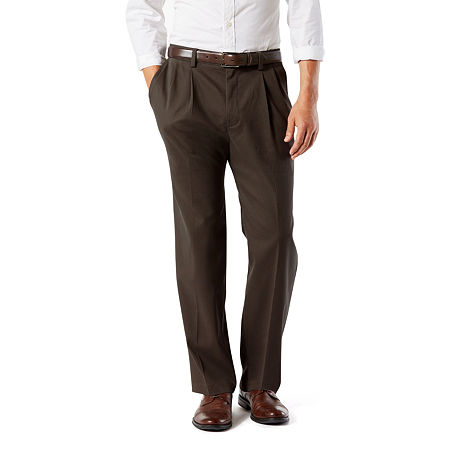 Dockers Men's Classic Fit Easy Khaki Pants - Pleated D3, 36 34, Brown