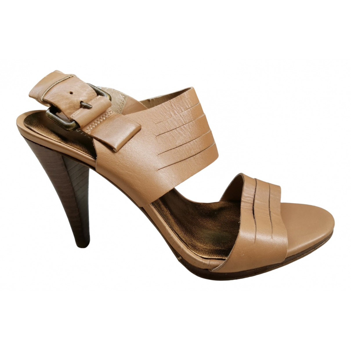 Nine West N Beige Leather Sandals for Women 6 US