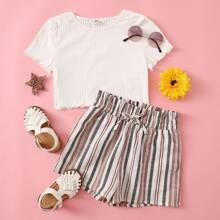 Strick Top mit gekraeuseltem Saum & Shorts mit Papiertasche Taille, Guertel und Blumen Muster